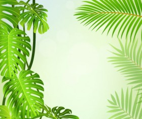 tropical Green leaf elements vector background 04