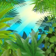 Link toTropical green leaf elements vector background 05