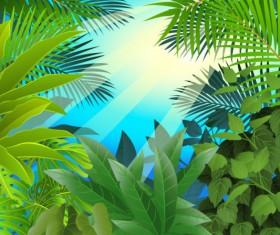 tropical Green leaf elements vector background 05