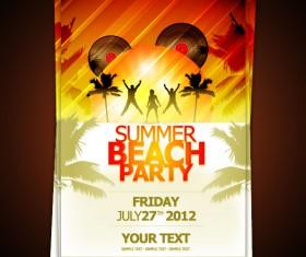 Set of beach party Flyer vector 02