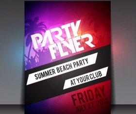 Set of beach party Flyer vector 05