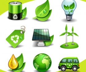 Eco elements icon vector 01