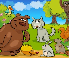 Elements of Vivid cartoon Animal vector 03
