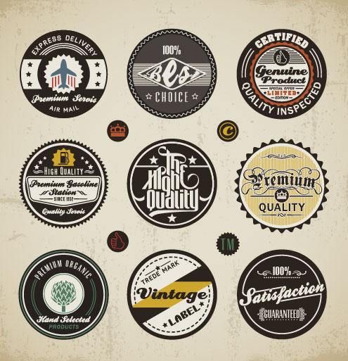 Various Elements Vintage Labels Vector 01 Vector Label