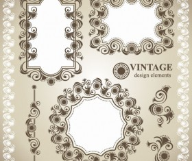 Vintage lace Frames and Borders vector 01
