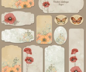 Excellent Vintage flower labels vector 01