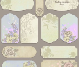 Excellent Vintage flower labels vector 02
