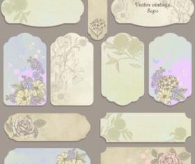 Excellent Vintage flower labels vector 02
