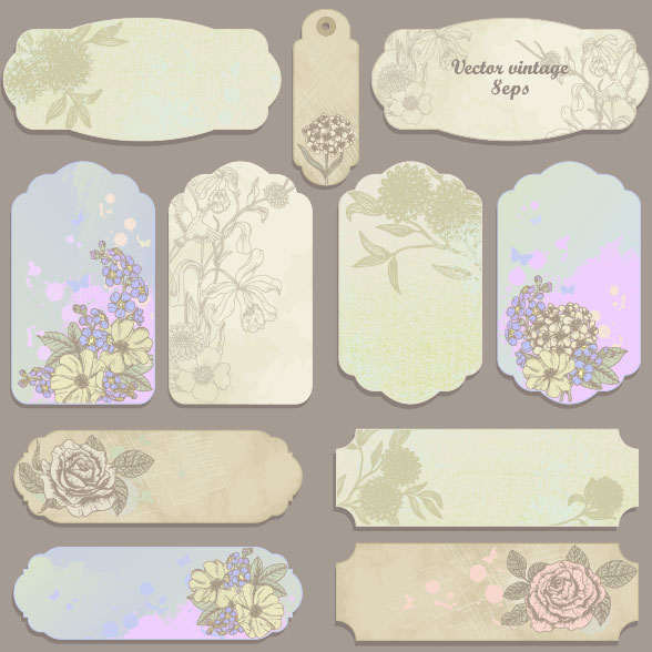 Excellent vintage flower labels vector 02 vector flower for Flower tags template free