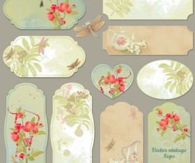 Excellent Vintage flower labels vector 04