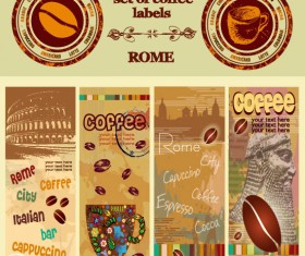 Retro Coffee template and Coffee labels vector 02