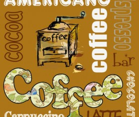 Retro Coffee template and Coffee labels vector 03