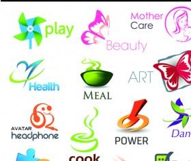 Different 3D logos design elements vector 03