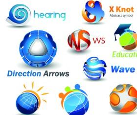 Different 3D logos design elements vector 05