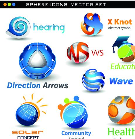 Different 3d logos design elements vector 05 vector logo for Logo design online free 3d