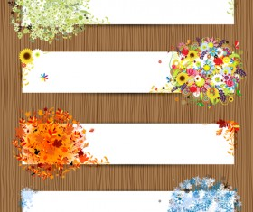 Abstract of Colorful Flowers banners vector 01