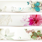 Link toAbstract of colorful flowers banners vector 03
