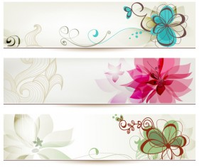 Abstract of Colorful Flowers banners vector 03