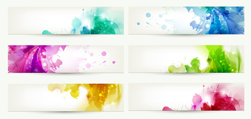 Abstract of Colorful Flowers banners vector 04