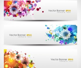 Abstract of Colorful Flowers banners vector 05