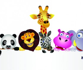 Cute cartoon Animals and billboard vector 01