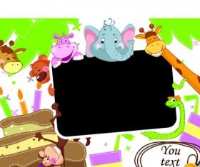 Cute cartoon Animals and billboard vector 02