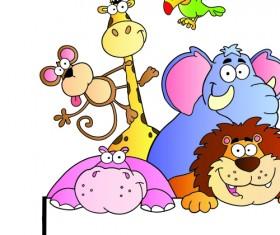 Cute cartoon Animals and billboard vector 03