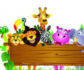 Cute cartoon Animals and billboard vector 04