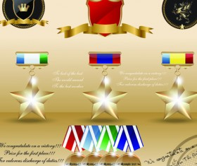 Different Award medal vector set 04