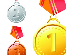 Different Award medal vector set 06