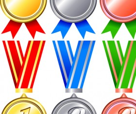 Different Award medal vector set 07