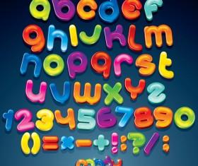 Cute cartoon Alphabet letter and Digital vector art 02