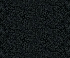 luxurious Black Damask Patterns vector 02