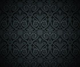 luxurious Black Damask Patterns vector 04