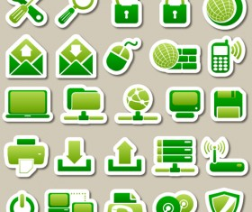 Different green icon vector set 01