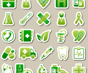 Different green icon vector set 02