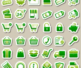Different green icon vector set 03