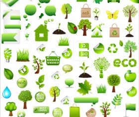Eco with Bio elements of Stickers and icon vector 01