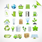 Link toEco with bio elements of stickers and icon vector 02