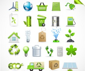 Eco with Bio elements of Stickers and icon vector 02