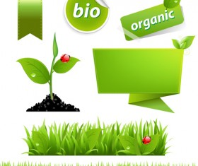 Eco with Bio elements of Stickers and icon vector 03