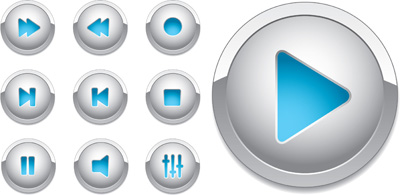 Elements of Shiny Media Buttons Vector