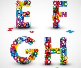 Elements of Various alphabet art vector 05