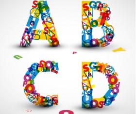 Elements of Various alphabet art vector 06