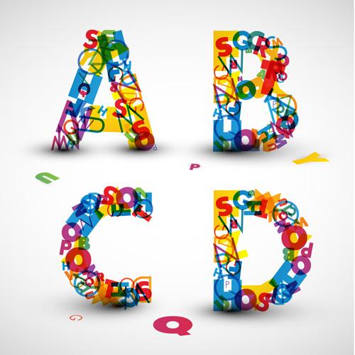 Letter Art Design : Elements of various alphabet art vector font