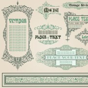 Link toSet of frame, border, ornament element in vintage style vector 02