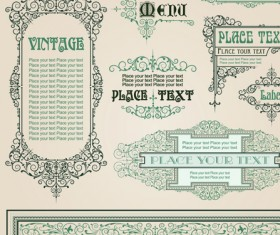 Set of Frame, border, ornament element in vintage style vector 02