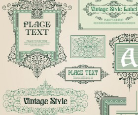 Set of Frame, border, ornament element in vintage style vector 03
