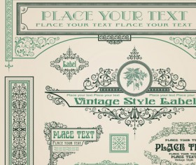 Set of Frame, border, ornament element in vintage style vector 04