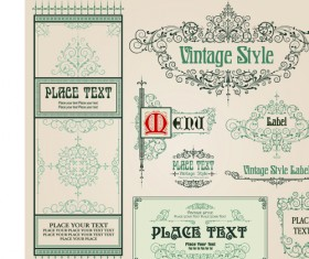 Set of Frame, border, ornament element in vintage style vector 05